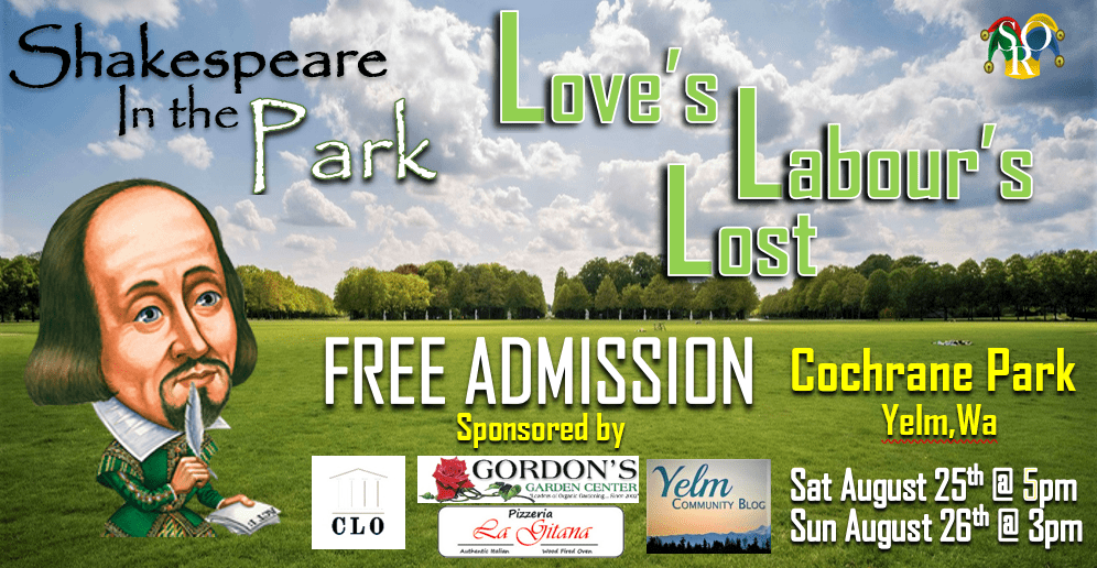 AUG 25th & 26th SHAKESPEARE IN THE PARK - FREE ADMISSION