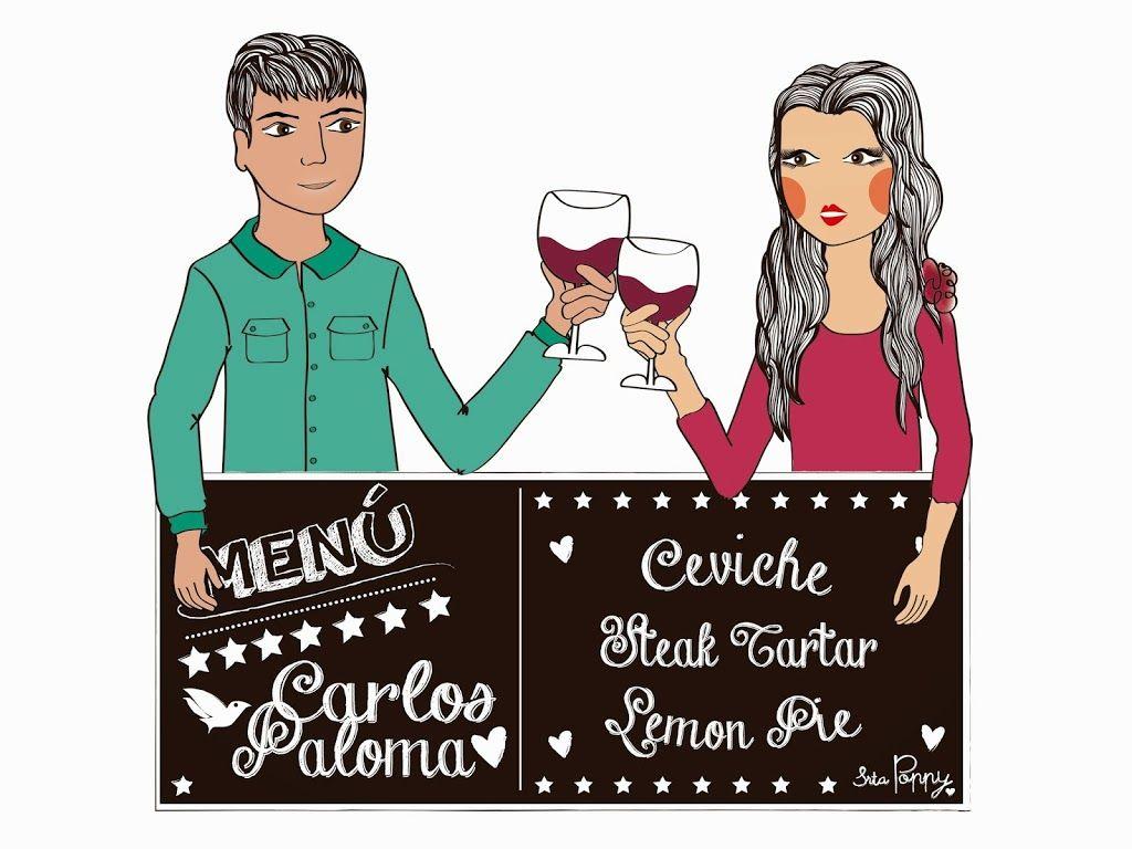 Ilustración y taza Personalizada Menú Paloma&Carlos