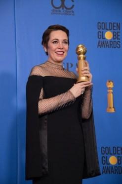 """Olivia Colman, melhor atriz em filme de comédia/musical por """"A Favorita"""" (Foto: Divulgação / Crédito: HFPA Photographer)."""