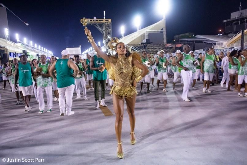 Rainha de bateria do Império Serrano, Quitéria Chagas, no ensaio técnico 2019. Foto: Justin Scott Parr