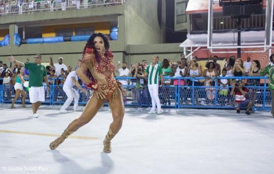 Rainha do Império Serrano, Monique Rizzeto, no ensaio técnico 2019. Foto: Justin Scott Parr