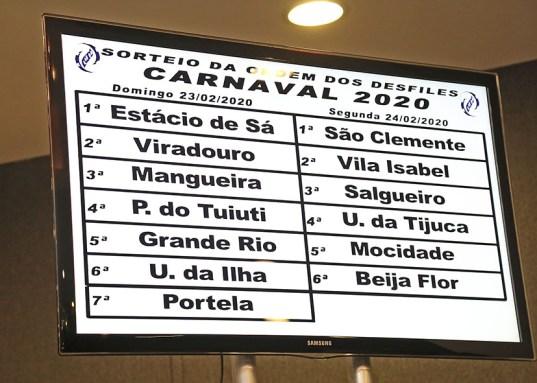 Sorteio da ordem dos desfiles do Grupo Especial 2020. Foto: Henrique Matos