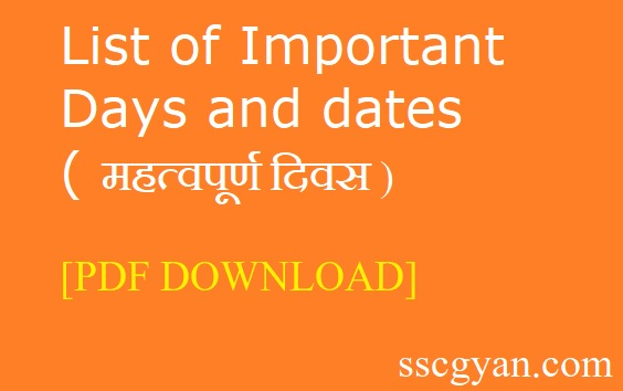 List of Important Days and dates