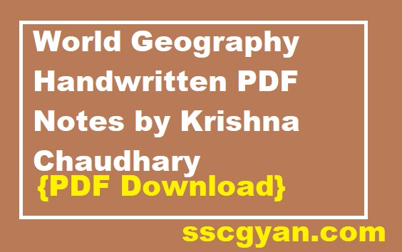 World Geography Handwritten PDF