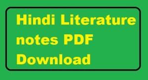 hindi literature notes