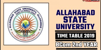 Allahabad State University Bcom 2nd Year Time Table 2019