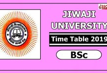 Jiwaji University BSc Time Table 2019