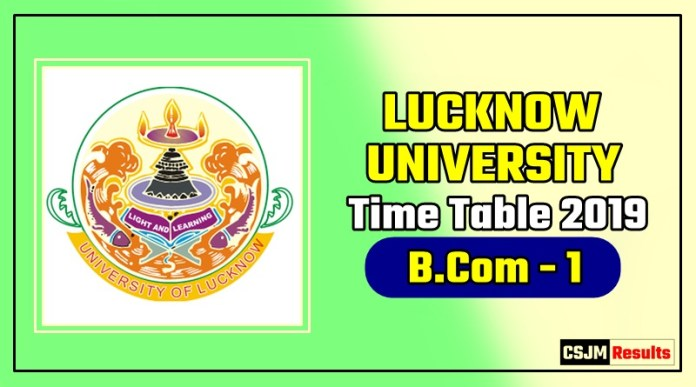 Lucknow University Bcom 1 Year Time Table 2019