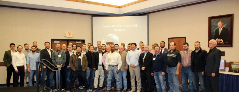 Alumni of former Trojan baseball teams gather in Utterback Ballroom of the Enoch Kelly Haney Center following Seminole State College's annual baseball banquet.