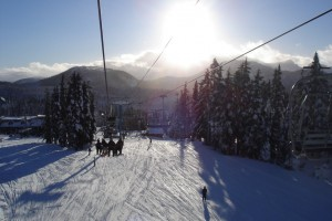 Winter Sounds: The creak of the ski-lift's cables!