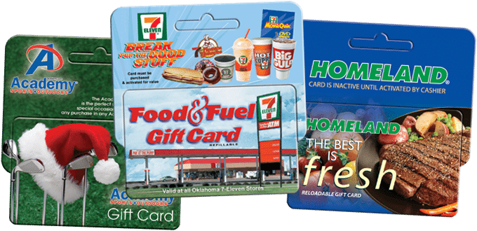 Custom plastic hanging display gift cards for Academy, 7-11, and Homeland