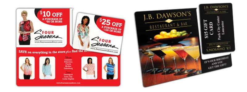 retail and restaurant laminated direct mail postcard