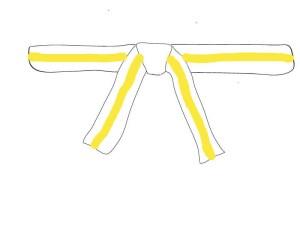 9. Kup - Der weiß-gelbe Gürtel: Zwischenstufe auf dem Weg zum gelben Gurt.