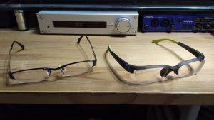 ランニング用眼鏡(右)とメタルフレーム(左)