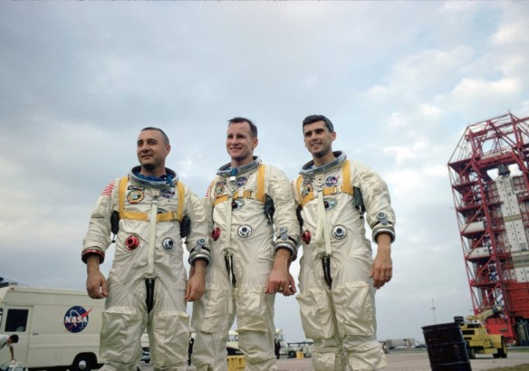 The crew of Apollo 1 poses for a photo before mission. Astronaut Roger Chaffee of Grand Rapids was killed during a pre-launch test for Apollo 1. (NASA image)