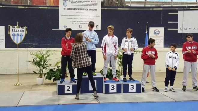23.10.2015  1^ prova interregionale Il podio della categoria Allievi Fioretto  Viorel Fioravanti 1° classificato (foto M.Fioravanti)