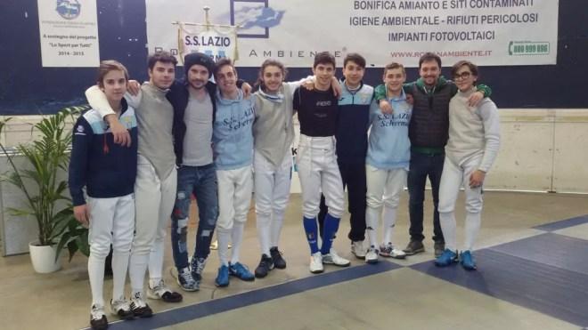 Ariccia 24.01.2016 Il bel gruppo di fiorettisti della Lazio Scherma (foto G.Trometta)