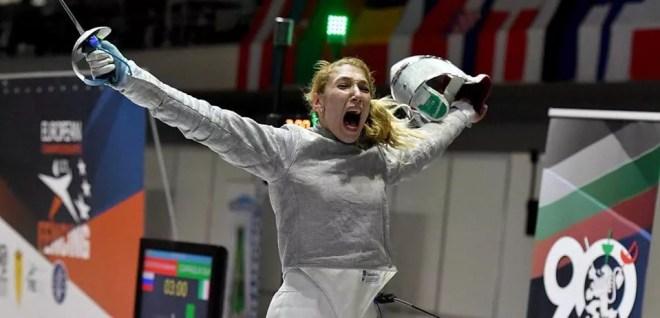 Plovdiv 04.05.2016 European Championship U23  L'urlo della vittoria di Sofia Ciaraglia (foto Bizzi per Federscherma)