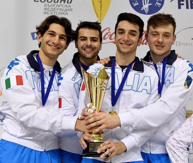 Plovdiv 04.05.2016 European Championship U23  Saverio Schiavone, Damiano Rosatelli, Guillaume Bianchi e Francesco Ingargiola (foto Bizzi per Federscherma)