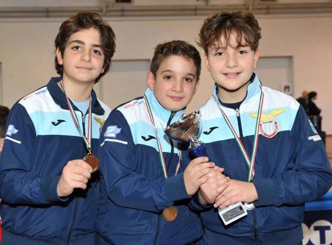 Roma 11.02.2017 GPG Kinder+Sport nazionale Francesco pagano, Filippo Monteferri e Angelo Formiconi (foto Trifiletti per Federscherma)