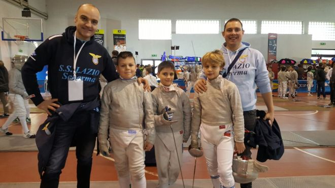 Roma 11.02.2017 GPG Kinder+Sport nazionale Vincenzo Castrucci e Matteo Martini con Ivan Biascioli, Giovanni Michetti e Jacopo Imbastari