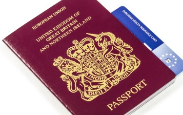 British Passport with E111 EHIC isloated