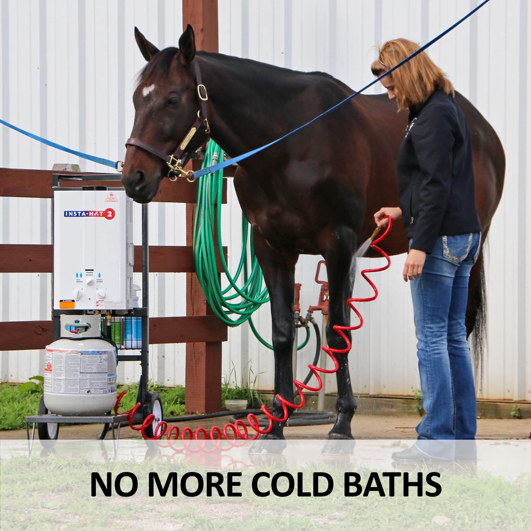 insta hot 2 portable horse washing system combo with cart