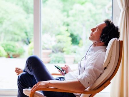 man with headphones relaxing