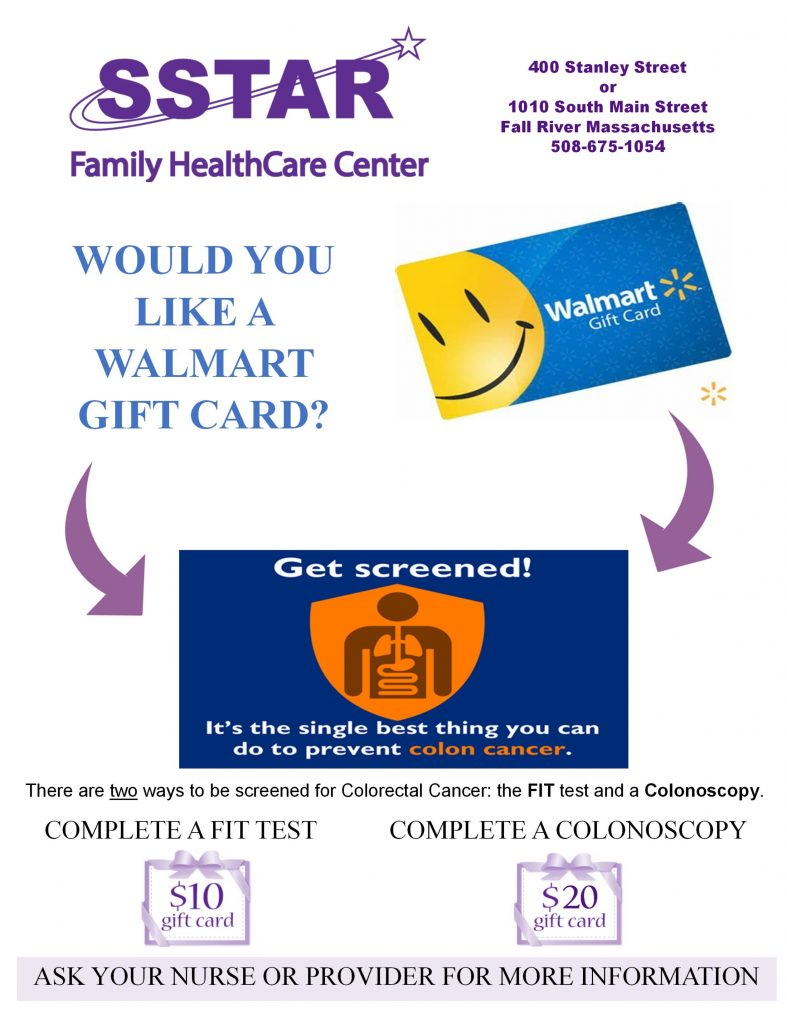 Colorectal Cancer Screening Incentive | SSTAR Addiction Treatment