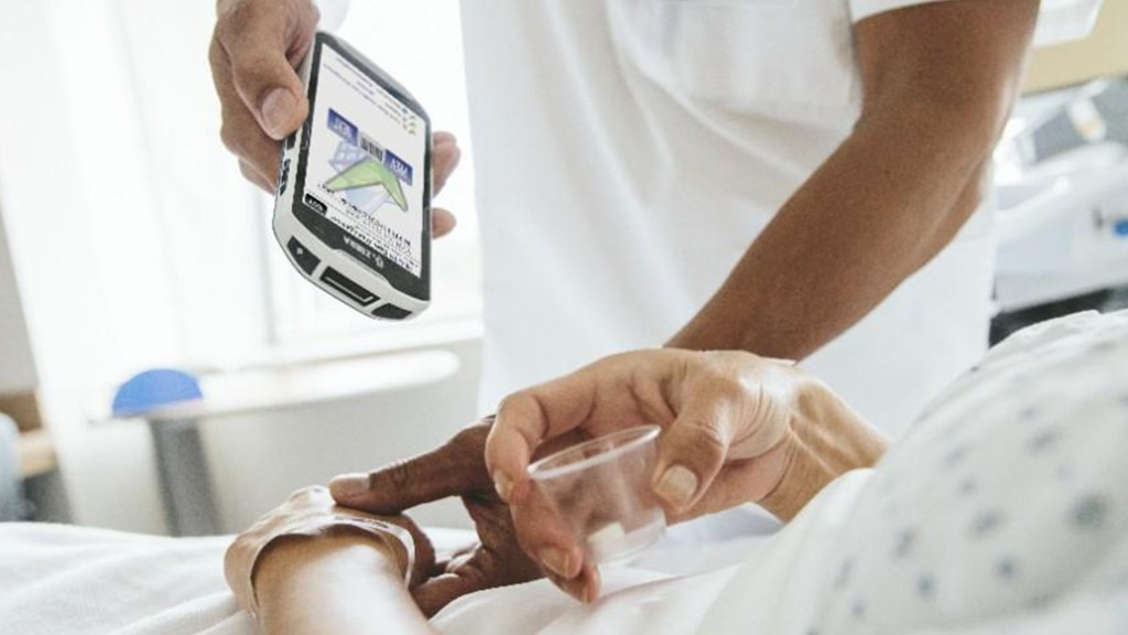 Supporting patient healthcare using Zebra TC51 mobile computer.