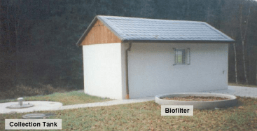 Small vacuum station building with bio-filter for the suction air and collection tank. Source ROEDIGER (2007)