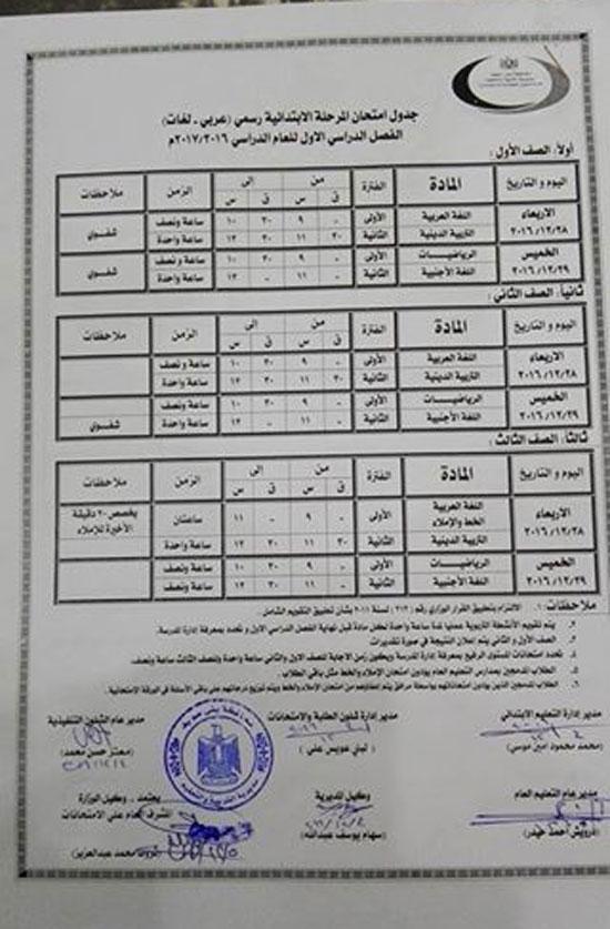جدول امتحانات الصفوف الأول والثانى والثالث الابتدائي