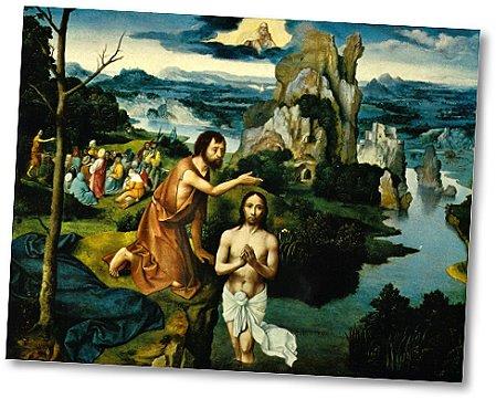 Bild/Klick: Die Taufe Christi - von Joachim Patinir (Quelle: uni-leipzig.de/ru)