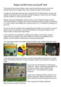 thumbnail of Badger and Otter Home Learning 28th April