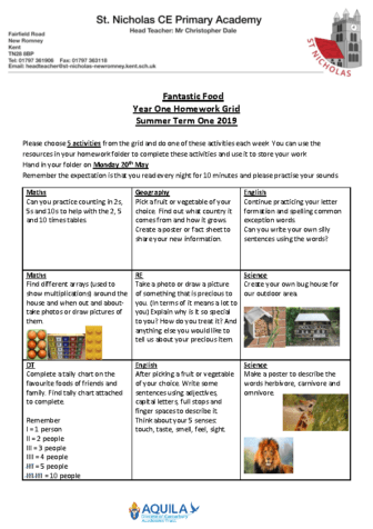 homework grid Term 5