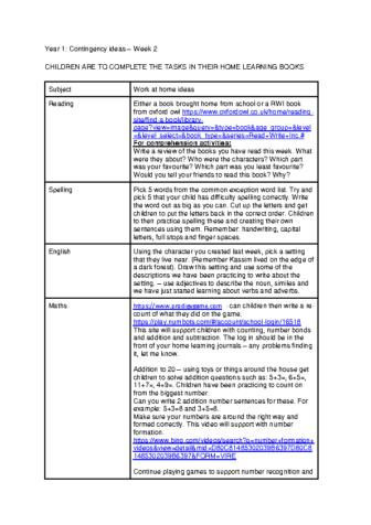 Coronavirus contingency plans- Year 1 Week 2