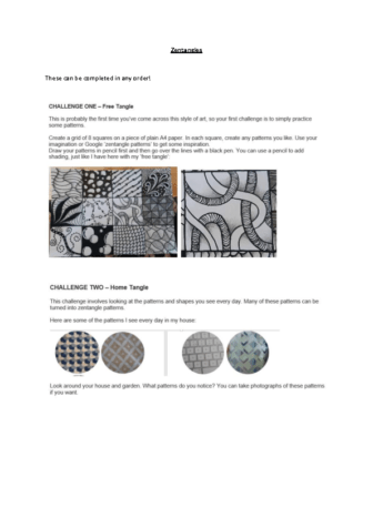 KS2 Art – Zentangles