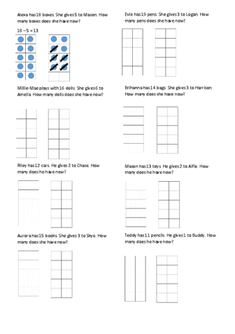 Subtraction Challenge 1