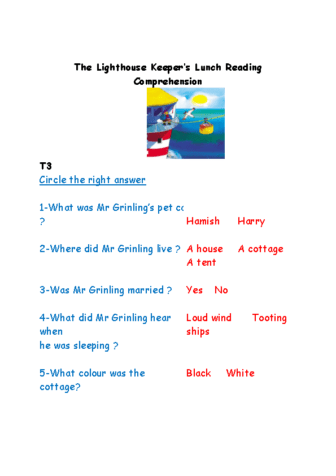 The Lighthouse Keepers Lunch Comprehension