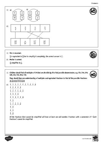 Simplifying fractions – answers