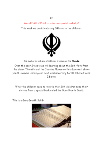 RE Sikhism 1 and 2