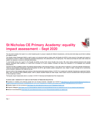 Reopening Equality Impact Assessment
