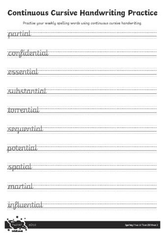 Continuous Cursive Handwriting Practice Sheet