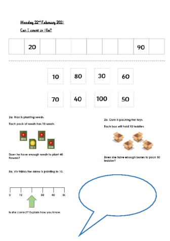 Monday 22nd February Counting in 10s