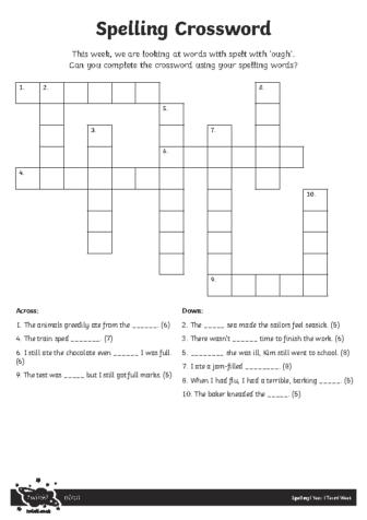 Spelling Crossword Activity Sheet