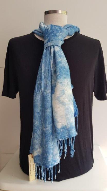 dunne batik sjaal indigoblauw