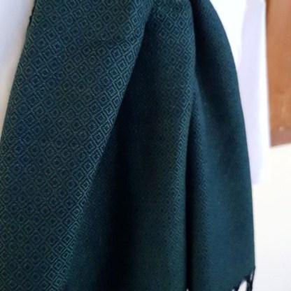 donkergroene sjaal met blauw