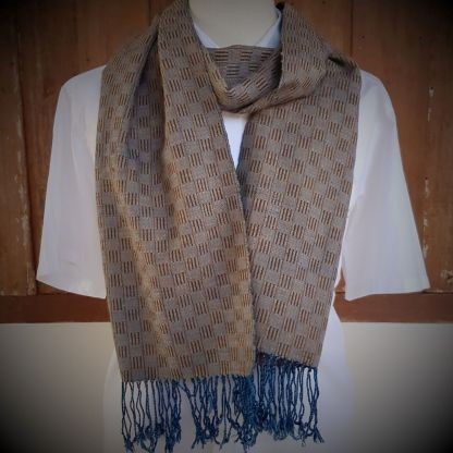 brown scarf with blue