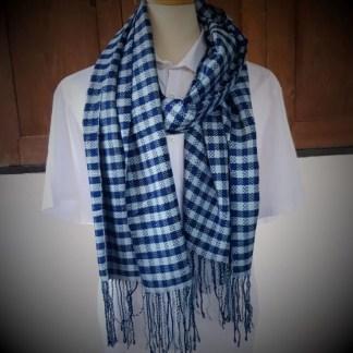 sjaal blauw blokmotief