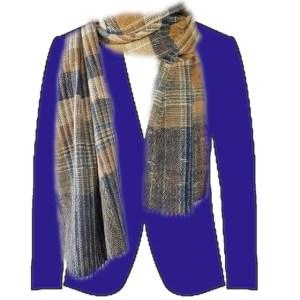 bruin geruite sjaal met blauw